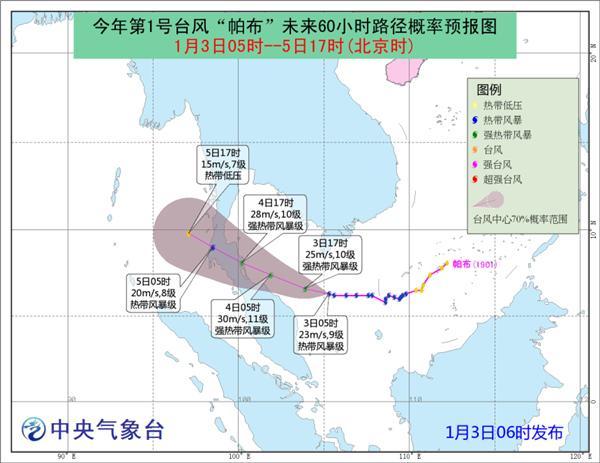 """展望,""""帕布""""中心将以每幼时15公里旁边的速度向西偏北倾向移行,强度略有强化,并向马来半岛东部沿海挨近。今天夜晚到明天白天马来半岛以东海面、泰国湾将有7-9级大风,片面海域风力可达10级,阵风11-12级。"""