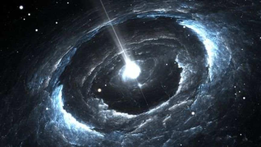 图片为一颗高度磁化的旋转中子星。天文学家称其可能是电波来源。