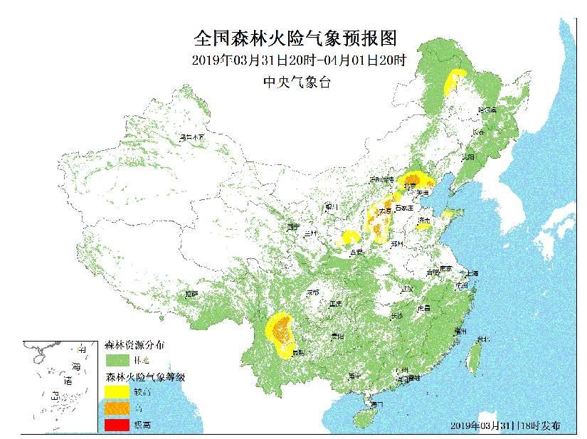 加强防范!今天北京四川等地森林火险气象等级高