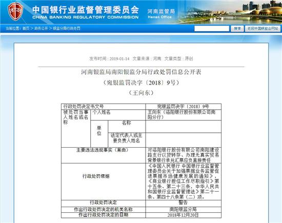 河南银监局1月14日通报截图