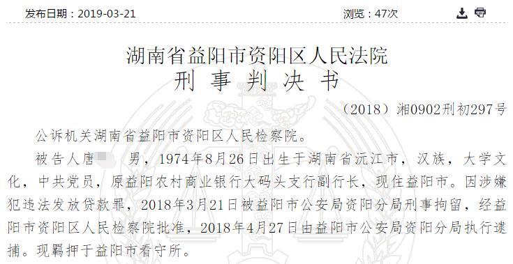 原益阳农商银行大码头支行副行长违法发放贷款获刑