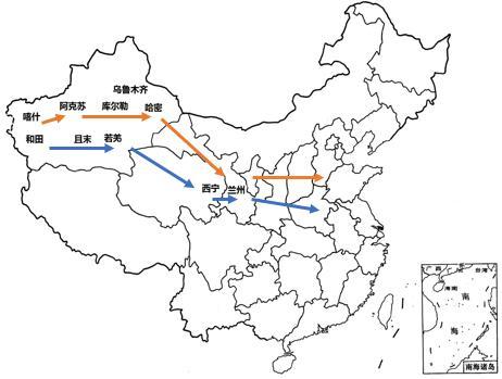 图9 红枣出疆运输路线