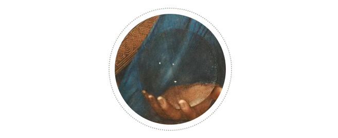 列奥纳多为什么会这么做呢?沃尔特·艾萨克森在他的新作《列奥纳多·达·芬奇传》中给出了两种解释:其一,画出光学畸变会分散观看者的注意力,同时破坏整体美感;其二,也许列奥纳多在试图为耶稣和他的水晶球赋予某种神奇的魔力。