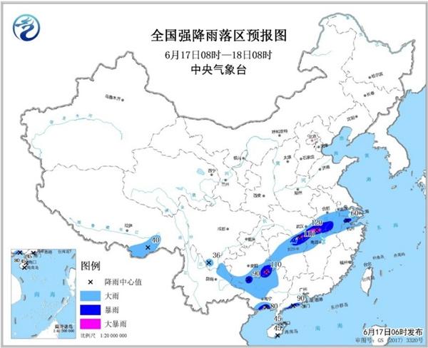 暴雨蓝色预警 湖北安徽等5省区局部有大暴雨
