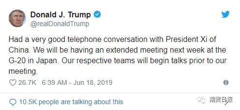 """推文称,""""与中国习主席在电话中进行了非常好的交谈。我们将在下周于日本举行的20国集团峰会上举行一次长时间会晤。在我们会晤前,我们各自的团队将开始磋商。"""""""