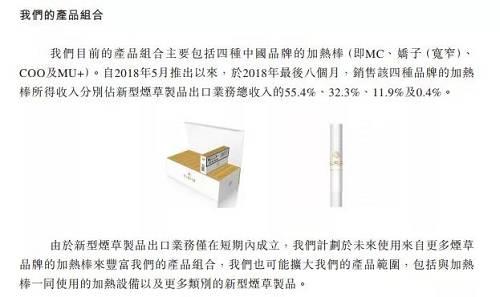 中烟香港的招股书提及电子烟在2019将大发展