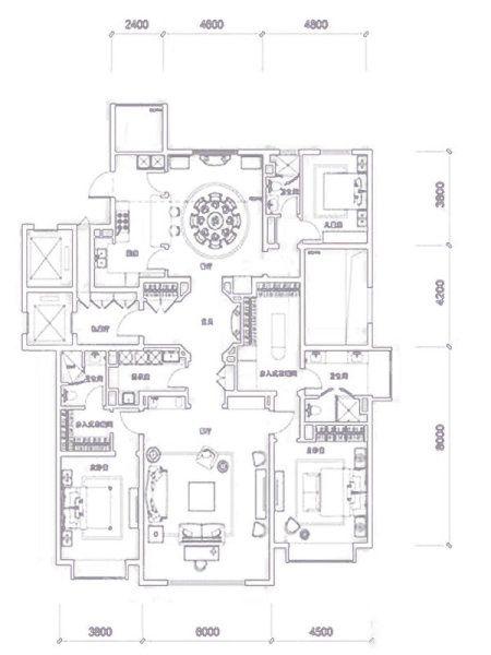 251�O4室2厅3卫户型图