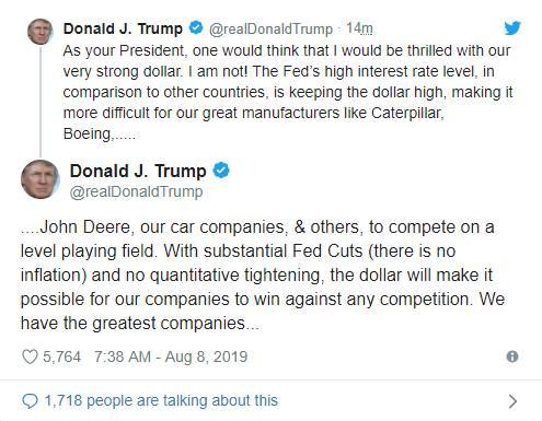 """特朗普称,""""美国拥有世界上最伟大的公司"""",但美联储却并非最伟大的央行,特朗普称,美联储每一步都走错了。"""
