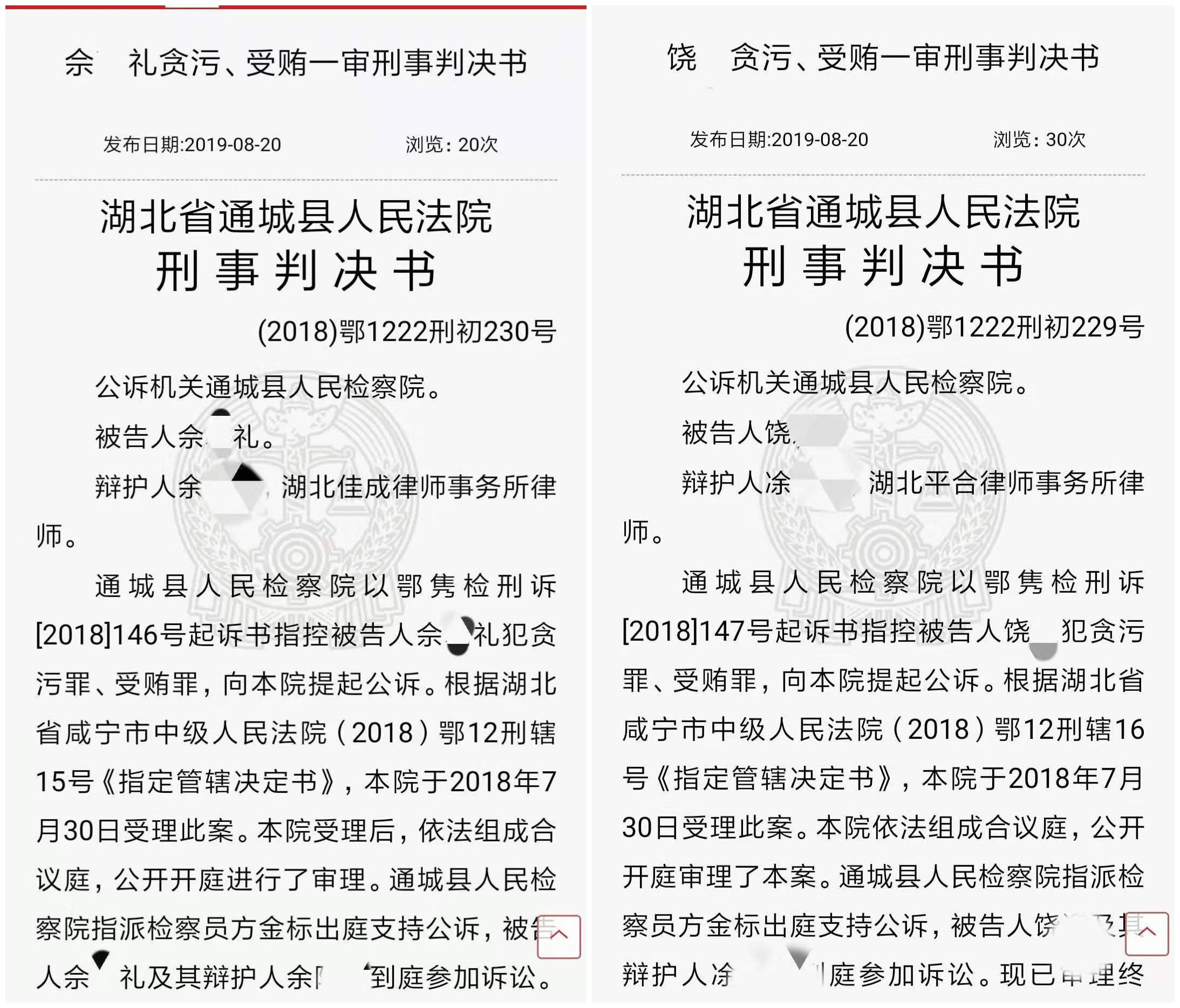 咸宁市城投公司财务总监、会计因贪污受贿被判刑 曾用虚假施工合同向农发行贷款8000万元