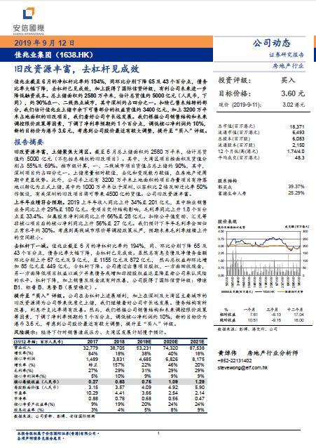 """安信国际:佳兆业旧改资源丰富,上调至""""买入""""评级目标价3.60港元"""