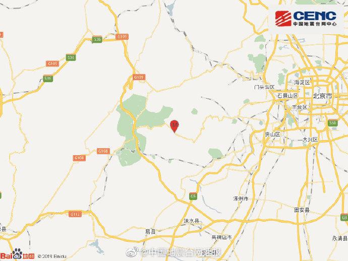 北京房山区发生3.2级地震