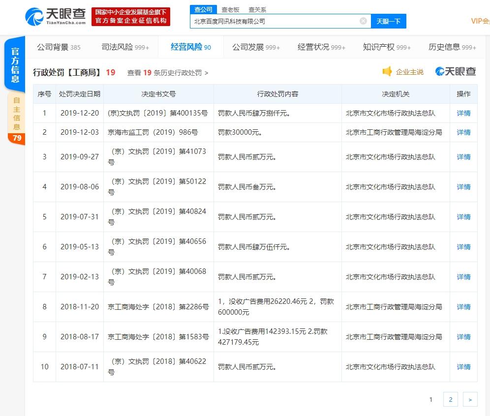 百度APP传播15本含禁止内容网络出版物,被罚了
