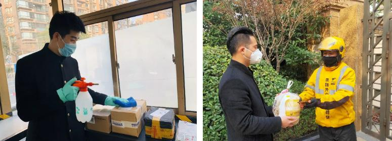 融创上海区域物业服务人员为业主统一管理快递外卖,并为外包装做好消毒工作