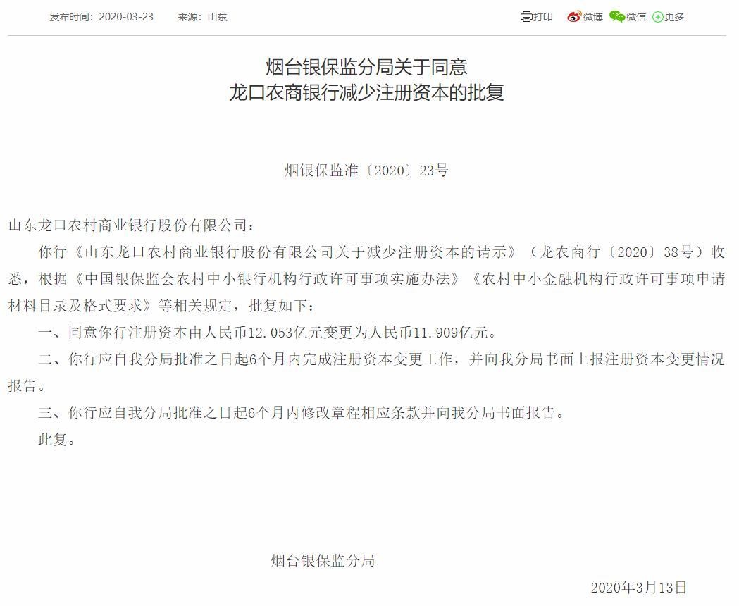 山东龙口农商银行减少注册资本获批 5年间减少注册资本超5亿元