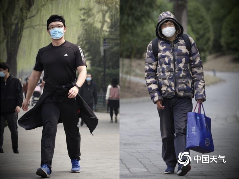 """""""换季式""""寒潮来袭 北京街头一日短袖换棉衣"""