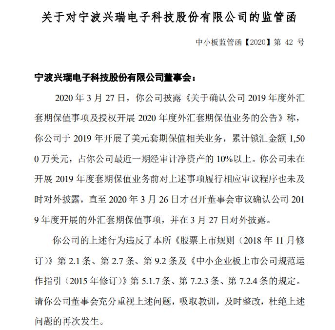 兴瑞科技开展外汇套期保值事项未及时信披收监管函