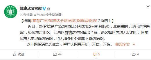 武汉两家酒店分别发现两例新冠肺炎病例?官方辟谣