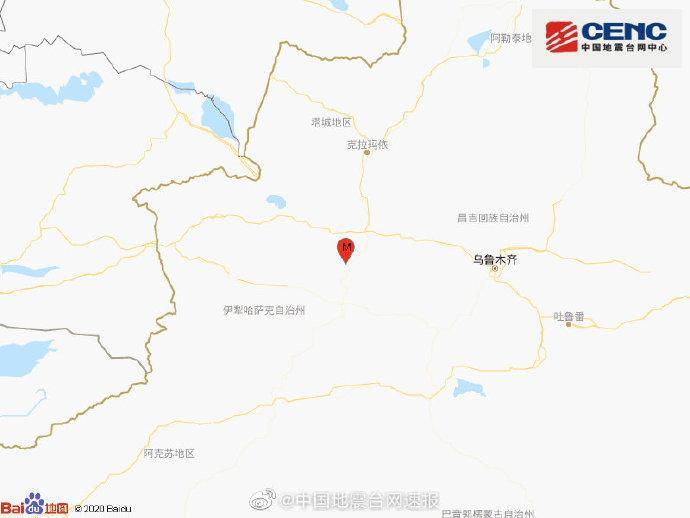 新疆塔城地区乌苏市发生4.2级地震 震源深度17千米