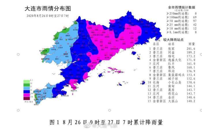 大连市气象台:69个乡镇出现大暴雨