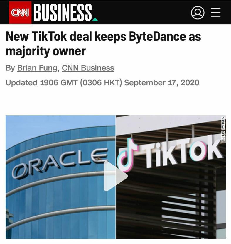 CNN:新协议让字节跳动保留了对TikTok的控股权