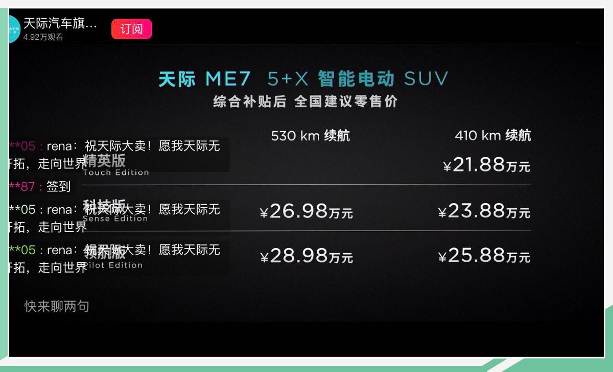 天际ME7正式上市 补贴后售21.88万-28.98万元