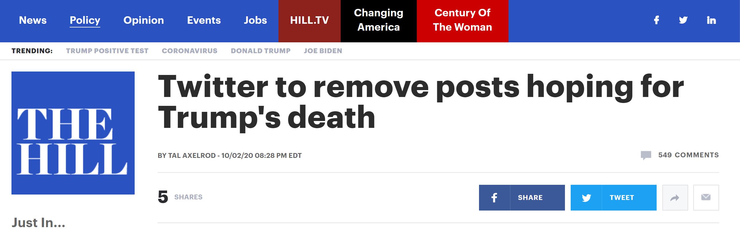 """特朗普已被注射试验性抗体治疗,""""正与新冠病毒'赛跑'"""",推特警告将删除平台上""""希望特朗普死掉""""的推文"""