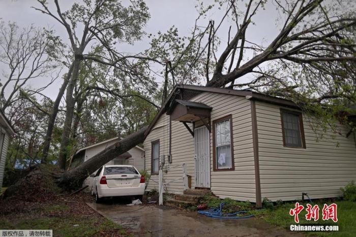 """飓风""""泽塔""""横扫美东南地区致6死 数百万户断电"""