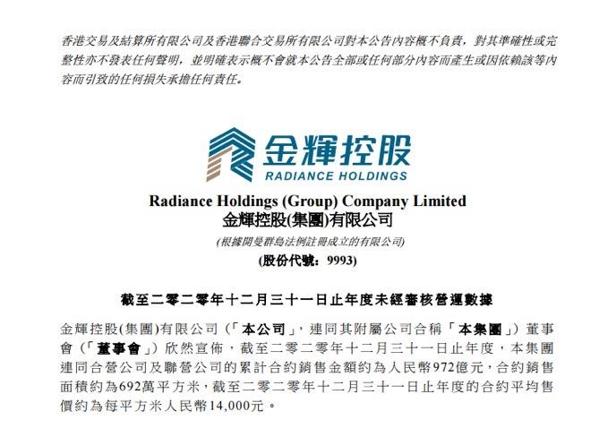 金辉控股:2020年合约销售972亿元 同比增长9.39%