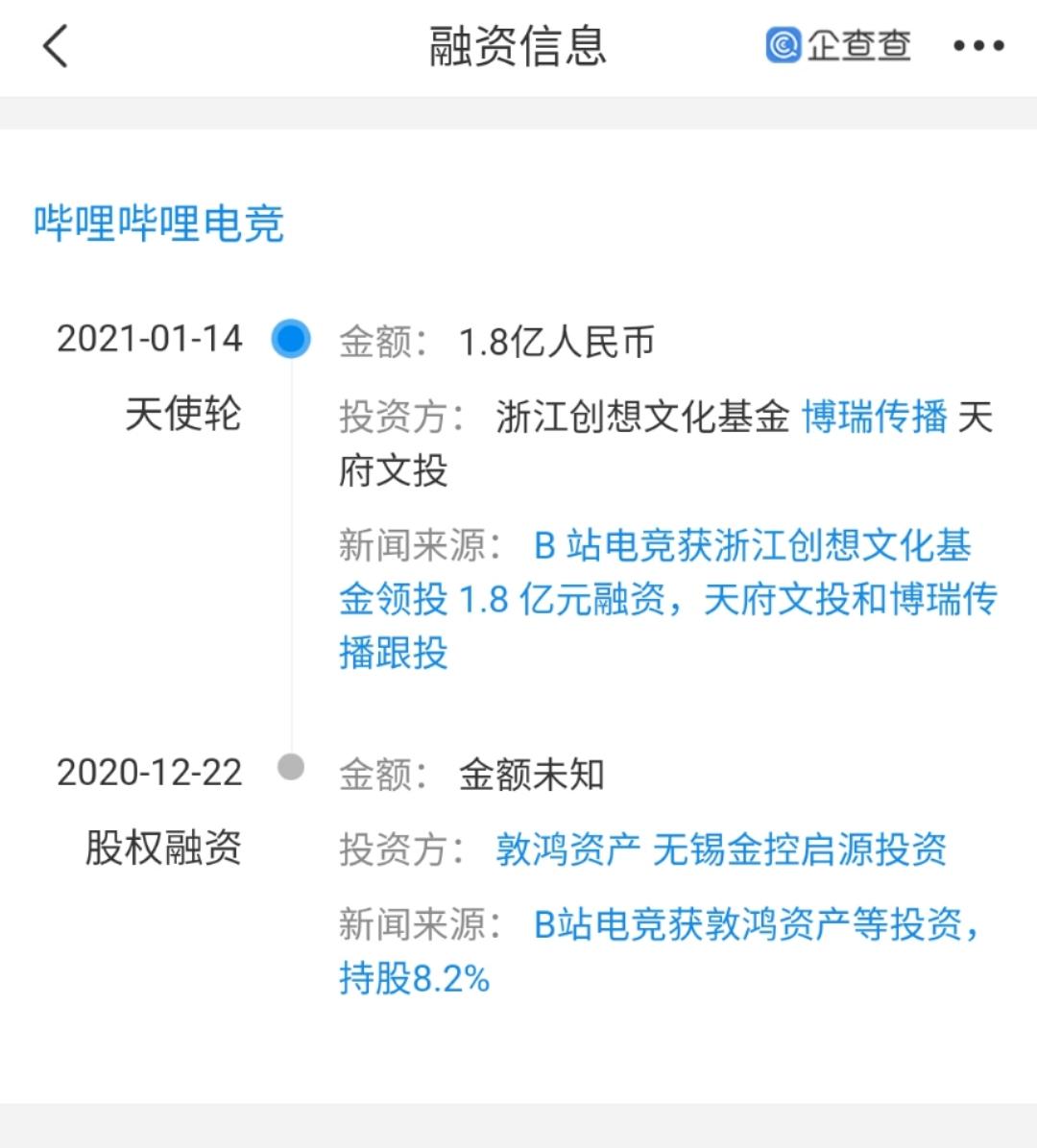 """""""哔哩哔哩电竞""""完成1.8亿元融资"""