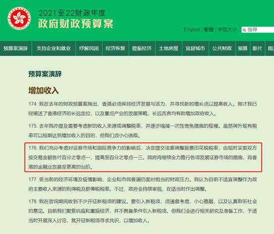 """香港股市突见""""黑天鹅"""",股票印花税提高30%至0.13%,5%财政收入来自股票印花税,港股遇惊魂一日"""