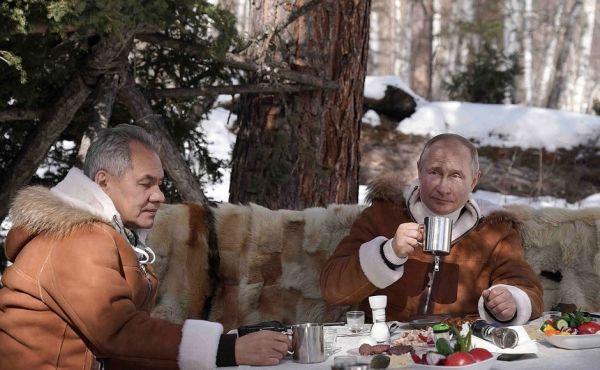 俄媒:普京与绍伊古在西伯利亚森林共度周末
