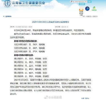 云南新增6例本土确诊病例详情公布 3月31日云南疫情最新消息今天