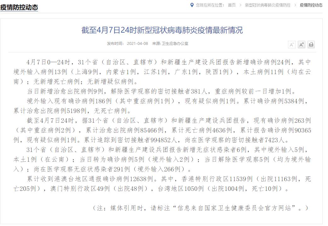 31省新增24例本土11例均在云南 4月8日全国疫情今天:云南瑞丽新增确诊病例11例