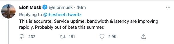 马斯克:星链beta版测试将于今年夏季结束