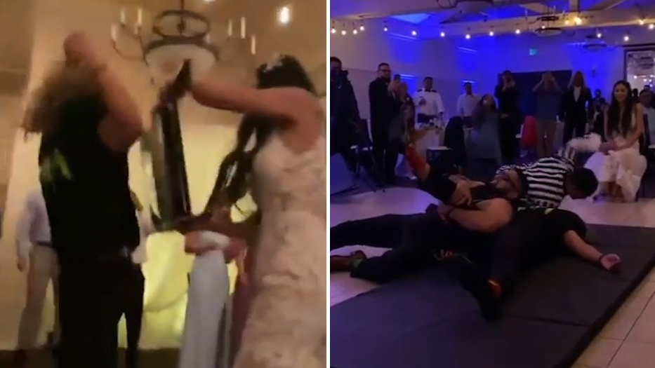 """国外一名新郎婚礼现场进行摔跤赛 向摔角手""""巨石""""强森致敬"""