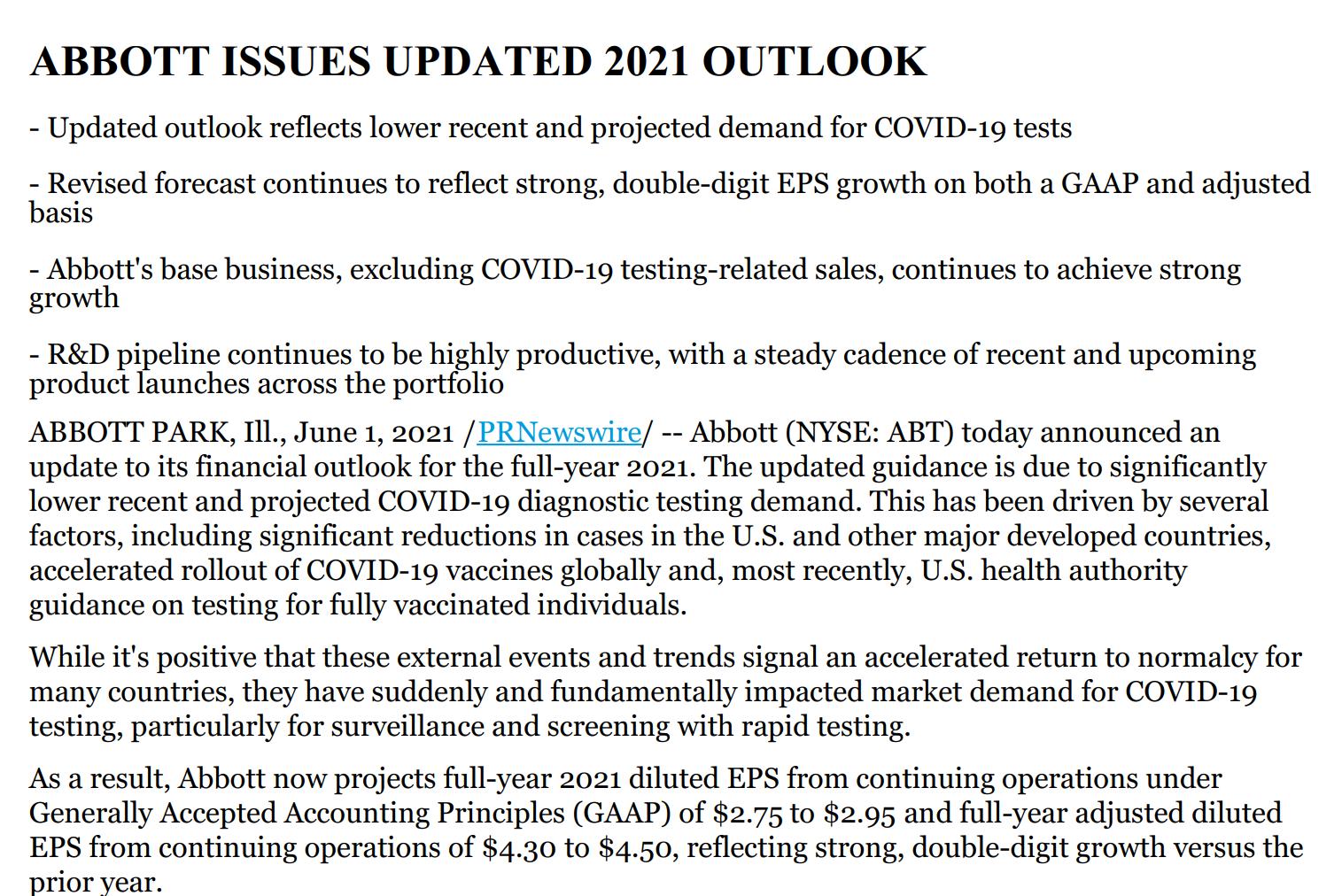 新冠检测需求下滑导致雅培下调财年利润指引 股价下挫逾8%