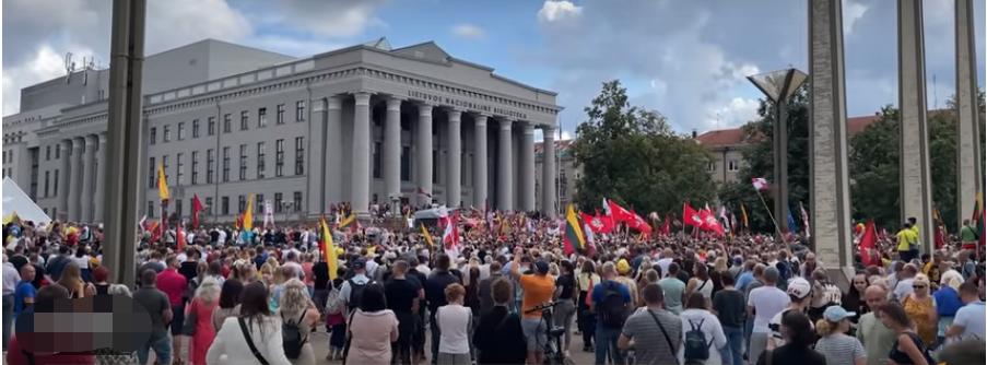 立陶宛首都爆发抗议活动,执法人员用催泪瓦斯驱散抗议者,扎哈罗娃发文讽刺!