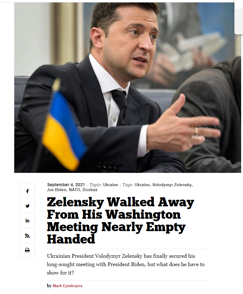 """美乌峰会缓和紧张关系?美国《国家利益》刊文:""""泽伦斯基几乎空手而归"""""""
