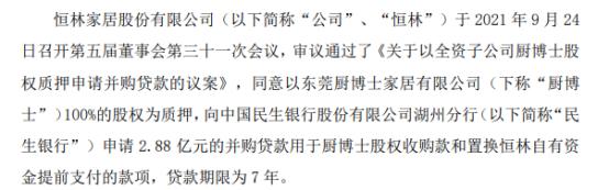 恒林股份质押全资子公司厨博士100%股权用于申请2.88亿元的购贷款