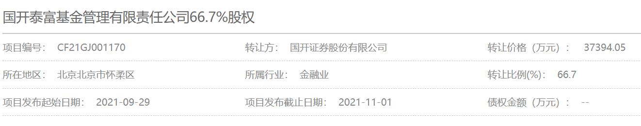 国开证券拟3.7亿元清仓国开泰富基金66.7%股权